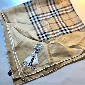 Burberry Silk Scarf Wrap Check Tan